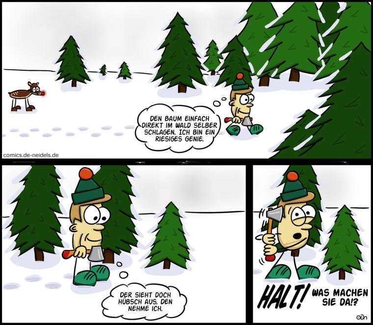 Weihnachtsbaum im wald schlagen